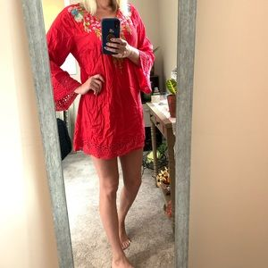 Red embroidered v neck dress/cover up